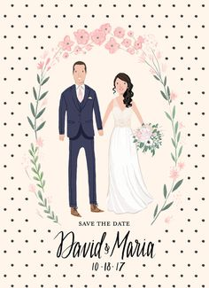 Custom Illustrated Couple Portrait Wedding di kathrynselbert
