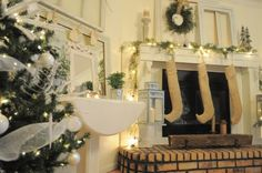 Mantel Ideas - eclectic - dining room - other metro - Buckets of Burlap Merry Little Christmas, Christmas Wishes, Simple Christmas, All Things Christmas, White Christmas, Vintage Christmas, Christmas Trees, Christmas Ornaments, Rustic Mantel
