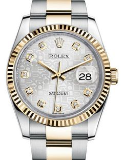 Rolex Mens Datejust Two Tone Silver Diamond Dial Unworn 2014 | Limited Watches