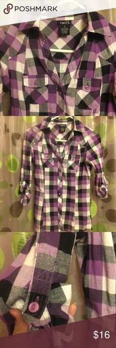 Rue 21 buttons small button up Black & purple shirt size small  like new,  In great condition basically NEW  No buttons or stains missing Reason selling I sadly gained weight a little lol  Will ship the next day Very reasonable, Don't LIKE my price shoot me a offer:) feel free to bundle Rue21 Tops Button Down Shirts