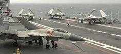 J-15 combat aircraft of the Chinese navy, on the aircraft carrier Liaoning, during maneuvers in the China Sea.