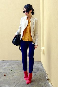 Office ready in skinny jeans and ivory moto jacket via LonelyColours