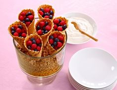 Were bookmarking this idea for Mother's Day! Fill the trifle bowl with your favorite cereal or granola, arrange large waffle cones inside, and fill with fresh berries and whipped cream. Breakfast in bed made easy!