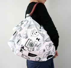 Furoshiki & Red Leather Carry Strap for Bag Set. $70.00, via Etsy.