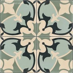 Cement Tile Shop has beautiful Sofia handmade encaustic cement tile in stock and ready to ship. Design Retro, Urban Design, Cement Crafts, Diy Carpet, Color Tile, Tile Design, Kitchen Flooring, Pattern Wallpaper, Tile Floor