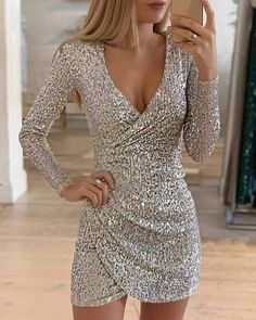 Women Fashion Sequin Club Short Dress Winter Long Sleeve V Neck Bodycon Dress Ladies Shine Party Mini Dress Vestidos Vestidos Sexy, Outfit Vestidos, Casual Party Dresses, Bodycon Dress Parties, Club Dresses, Dress Party, Elegant Dresses, Maxi Dresses, Party Outfits