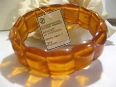 Vintage Russian Honey Amber Stretch Bracelet Orig. Tag
