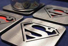Superman Coasters Set of 4 Man of Steel by ApocalypseFab on Etsy, $30.00