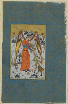 Folio from an unidentified text; the Angel Israfil circa 1580-1590 Ottoman period  Opaque watercolor, ink and gold on paper H: 29.6 W: 20.3 cm  Qazvin?, Iran or Turkey  Purchase--Smithsonian Unrestricted Trust Funds, Smithsonian Collections Acquisition Program, and Dr. Arthur M. Sackler S1986.219  Freer-Sackler   The Smithsonian's Museums of Asian Art