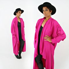 vintage 80s hot pink AVANT GARDE draped SLOUCHY oversized duster jacket by PasseNouveauVintage, $45.00