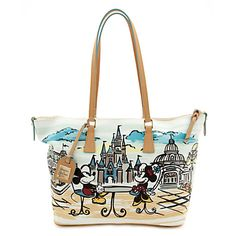 [Shop around]Carry Mickey and Minnie wherever you go with our Shopper Bag by Dooney and Bourke. Lovely illustrations on this fine fashion bag imagine our favorite Disney couple amid Cinderella Castle and Main Street, USA.