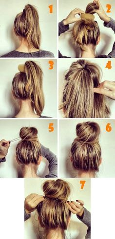 1. Make a ponytail with your hair. 2-3. Place the ponytail trought the donut and place it on the top of your head. 4. Twist your hair around the donut. 5. Secure it with bobbypins. 6. Now it's done! 7. If you want the ''messy'' effect, just pull your hair all round.