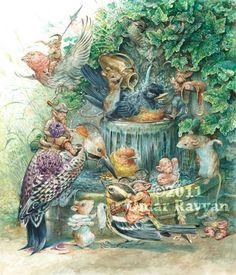 The Birdbath print by StudioRayyan on Etsy, $40.00