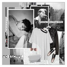 """""""I can't with so many feelings."""" by lauacvdo ❤ liked on Polyvore featuring Slim Aarons, TAXI, Yves Saint Laurent, Monki, Miu Miu, Sunday Somewhere, Eddie Borgo, grey, bts and BangtanBoys"""