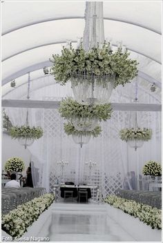 Beautiful elegant white floral chandeliers  www.flowersbylingky.com