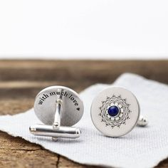 Discreet Size Sterling Silver and Enamel Chain Link Cufflinks