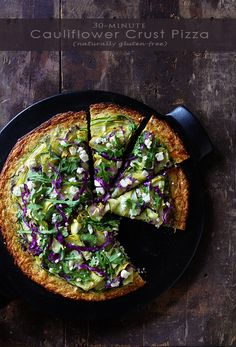 30-Minute Cauliflower Crust Pizza (natually gluten-free) via Bakers Royale