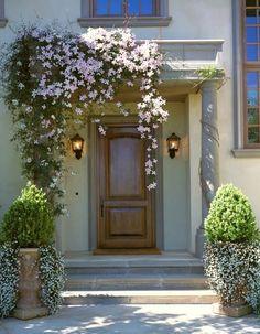 Flores y macetones a la entrada de la casa #Porch