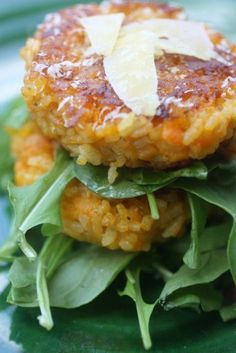 Pumpkin risotto cakes, a great way to use left over risotto!  www.nourishmagazine.co.nz