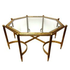 Fabulous Regency Gold Gilt Glass Top Coffee by TheModernHistoric
