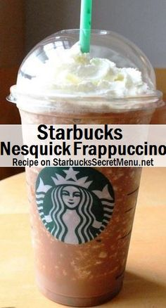 Starbucks Nesquick Frappuccino Light chocolate flavour that tastes great without being too overpowering. Starbucks Flavors, Starbucks Hacks, Starbucks Secret Menu Drinks, Starbucks Frappuccino, Starbucks Recipes, Coffee Recipes, Nesquick, How To Order Starbucks, Smoothie Drinks