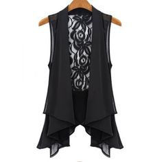 Stylish Lace Splicing Lace-Up Chiffon Waistcoat For Women, BLACK, L in Vests | DressLily.com