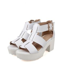 ab43c0a4e65 LUCLUC White Buckle Strap Heavy Bottomed Sandals - LUCLUC