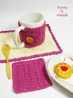 Set tazza tappeto all'uncinetto  Set da colazione di PyrosePatch