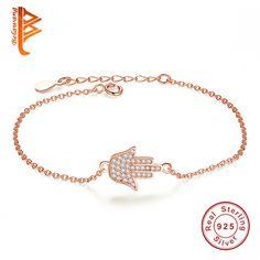 925 Sterling Silver Rose Gold Plated Fatima Hand Hamsa Charm Bracelet For Women Friendship Crystal Bracelet Femme Pulseras mujer