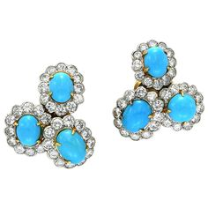 1960s Van Cleef & Arpels Turquoise Diamond Ear Clips | See more rare vintage Clip-on Earrings at http://www.1stdibs.com/jewelry/earrings/clip-on-earrings