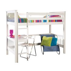 A fun and space-saving addition to your child's bedroom, this classic white bunk bed features a handy underneath desk which is ideal for homework time.