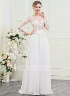 [US$ 129.99] A-Line/Princess Off-the-Shoulder Sweep Train Chiffon Lace Wedding Dress With Beading Sequins Bow(s)