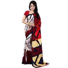 Cute Red Color Premium Georgette Printed Saree at just Rs.499/- on www.vendorvilla.com. Cash on Delivery, Easy Returns, Lowest Price.