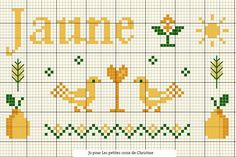 Yellow cross stitch by Christine. 04.2015