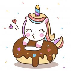 Cute Unicorn Vector Donut Cake Happy Birthday Kawaii Pony Cartoon Stock Vector - Illustration of color, cream: 149497043 Unicorn Drawing, Unicorn Art, Cute Unicorn, Unicorn Kitty, Cartoon Unicorn, Cute Easy Drawings, Cute Kawaii Drawings, Cute Animal Drawings, Doodles Kawaii