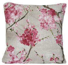 Cherry Blossom Cojín Flores rosas Decoración cojín del caso: Amazon.co.uk: Cocina y Hogar