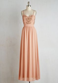 Impressed to the Nines Dress. Praise and amazement will overpower the atmosphere when you make your entrance in this blush maxi! #pink #prom #modcloth