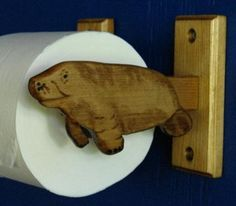 Manatee Toilet Roll Holder by imaginehandcrafts on Etsy, $35.00..... where has this been all my life?