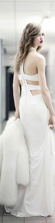 Alexandre Vauthier ~ Fall Halter Gown w Open Back Straps, White 2015.
