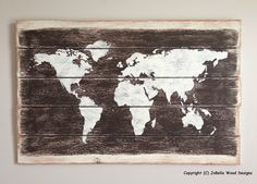 Father's Day Gift - World Map Distressed Wood Painting- Pallet, Reclaimed Wood, Rustic,  Urban and Industrial Decor by JoBellaWoodDesigns on Etsy