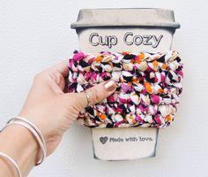 Poppy Nova fabric crochet cup cozy