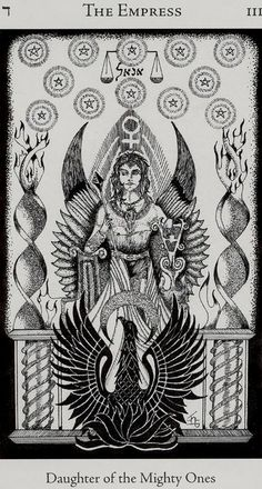 The Empress seems to have had a rather uneventful five centuries. Waite and the other occultists are responsible for the starry crown, the emblem of Venus, the waterfall, and the vegetation and wildlife.