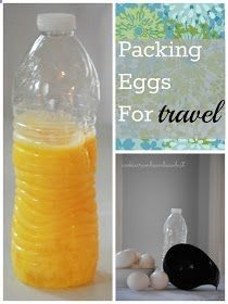 Camping Tip: Just lightly beat them ahead of time at home, then pack them in a recyclable water bottle using a kitchen funnel. A 16 oz water bottle will hold approximately 8-9 extra large eggs. If camping for several days, just pack in separate water bottles and label by day or dish. This eliminates any measuring on site. - ruggedthug