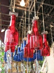 Recycle Reuse Renew Mother Earth Projects: How to make wine bottle wind chime LOTS OF GREAT BOTTLE UPCYCLING IDEAS