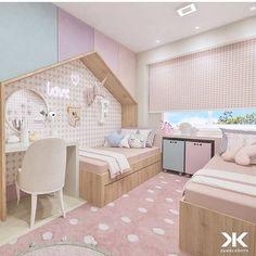 Quarto feminino | Projeto inspiração de quarto feminino com tonalidades nas cores rosa, lilás, azul e salmon... Projeto por 》 @danielkroth Dream Bedroom, Girls Bedroom, Diy Bedroom, Toddler Rooms, Toddler Bed, Awesome Bedrooms, Casa Do Pai, Kidsroom, Nursery Twins