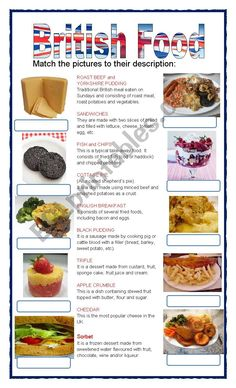 Students read the description and label the food English Day, British English, English Food, Learn English, Typical British Food, Food Vocabulary, English Vocabulary, English Grammar, Teaching English
