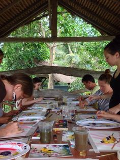 My painting lesson in Ubud Bali. My students at work.