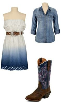 ombre strapless dress with belt, cowgirl boots and jean jacket (no jean jacket tho)