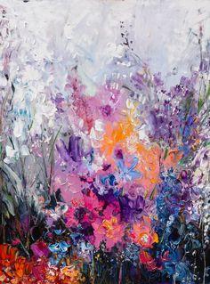 Original, one-of-a-kind abstract oil painting by modern Ukrainian artist Olesya Hudyma.Secret Garden painting - inspired by « The Secret Garden Oil Painting Abstract, Diy Painting, Original Paintings, Original Art, Impressionism Art, Impressionist, Thai Art, Garden Painting, Abstract Flowers