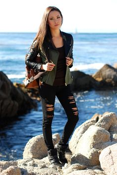 wedge sneakers with military jacket